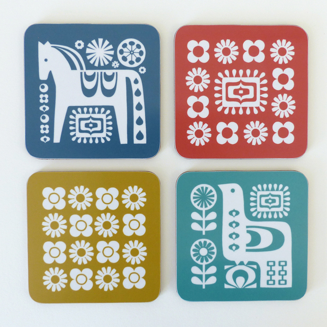 Mid Century Scandinavian Inspired Coasters, Set of 4 with coordinating packaging