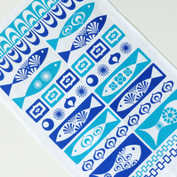 Retro Fish Tea Towel 70s Mid Century Blue Scandinavian Kitchen Textiles Vintage