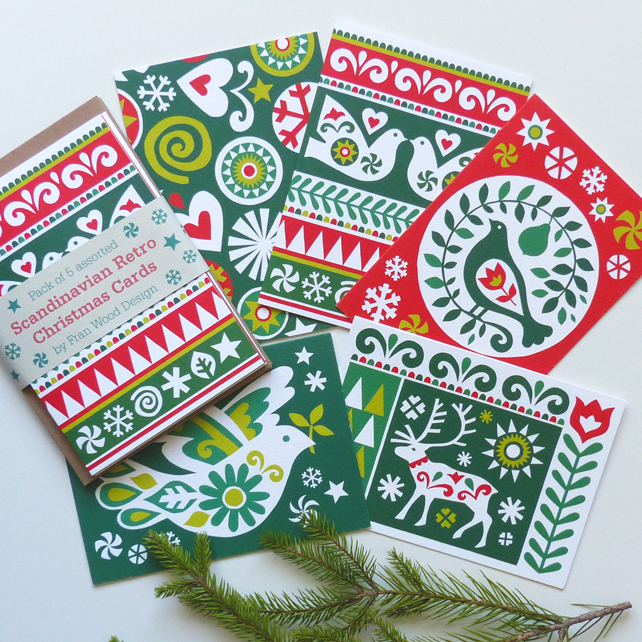 SALE Christmas Card Pack Scandinavian Retro Folk Art Traditional Luxury Cards