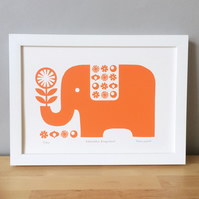Orange Elephant Screen Print, Signed Limited Edition, Nursery Decor, Wall Art
