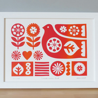 Scandinavian Retro Bird Flowers Screen Print, Red Orange, Signed Limited Edition