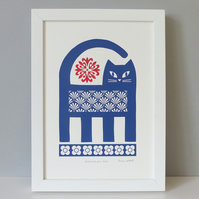 Cat and Flowers Screen Print, Retro Vintage Style, Blue and Red, Signed, Size A4