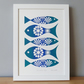 Fish Wall Art, Fish Print Vintage, Fish Art, Blue, Screen Print, A4, Retro