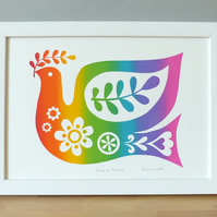 SCREEN PRINT Dove of Peace Rainbow Retro 1970s 1960s Pride Hand-Pulled Signed