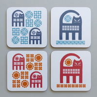 COASTER SET Cat Coasters Retro Vintage Cats Lover Gift Drinks Mat Floral 1970s