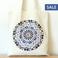 SALE - TOTE BAG Mexican Florwers Hearts Folk Art Book Shopping Market Totebag