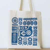 Scandinavian Bird and Flower Tote Bag Blue, Hand Screen Printed Scandi Style