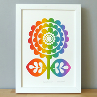Flower Screen Print, Rainbow Colours, Retro 60s 70s, Signed, Scandi Floral Print