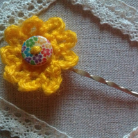 Yellow chrochet flower hair clip
