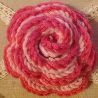 Pink rose flower brooch