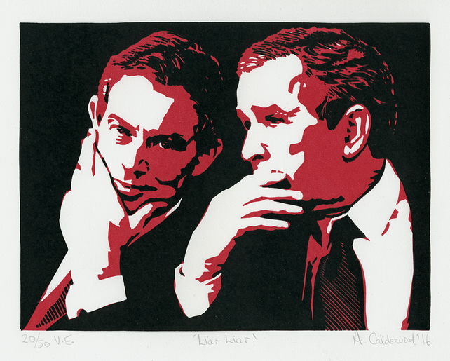 Liar Liar - Ltd Edition Linocut - RED or GREY