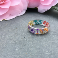 rainbow ring-real flower ring-resin ring-queen annes lace flower-pressed flower