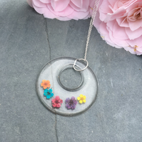 rainbow necklace-real flower necklace-resin pendant-sterling silver chain