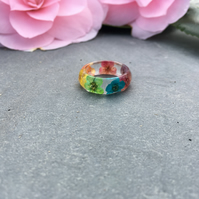 rainbow ring-rainbow flower ring-resin ring-real flower ring-nature ring-rings