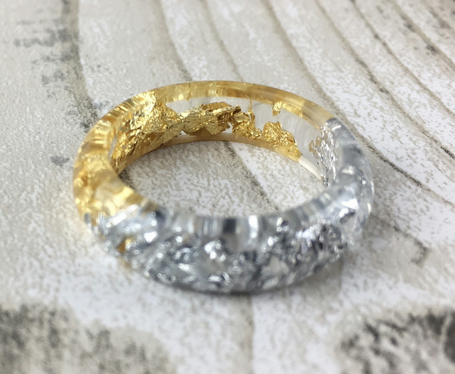 Resin ring-gold ring-silver ring-resin rings