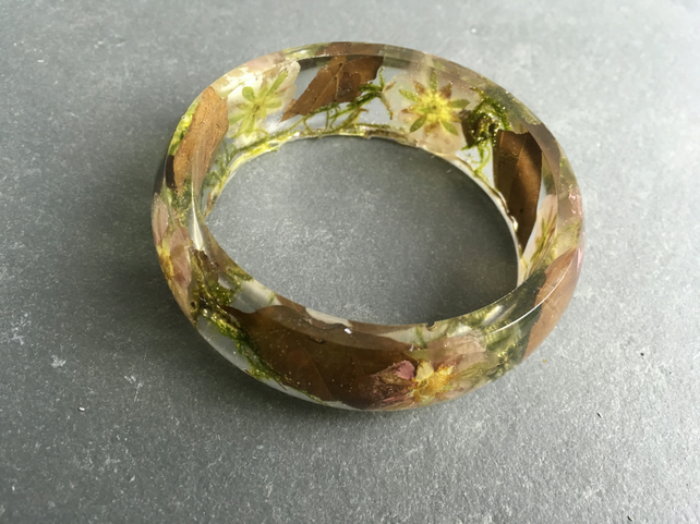 Resin bangle-terrarium bangle-real flower bangle