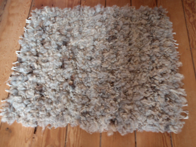 Woven wool fleece rug or Rya, also suitable for meditation mat.