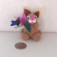"""Bonita"" The Pom Pom Bunny With Flower And Butterfly 001."