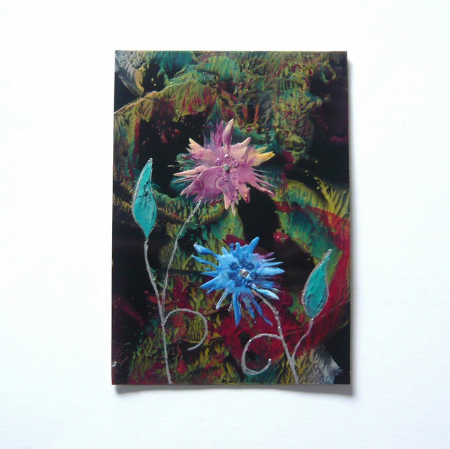 4X6 Fantasy Flower Painting With GLITTER 003.