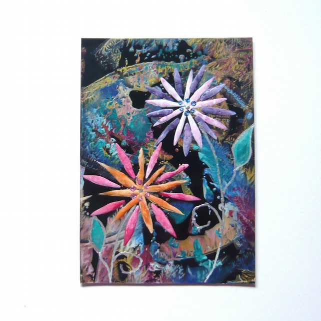 4X6 Fantasy Flower Painting With GLITTER 004.