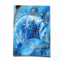 ACEO Wax Painting Of A Fantasy Castle With GLITTER 004.