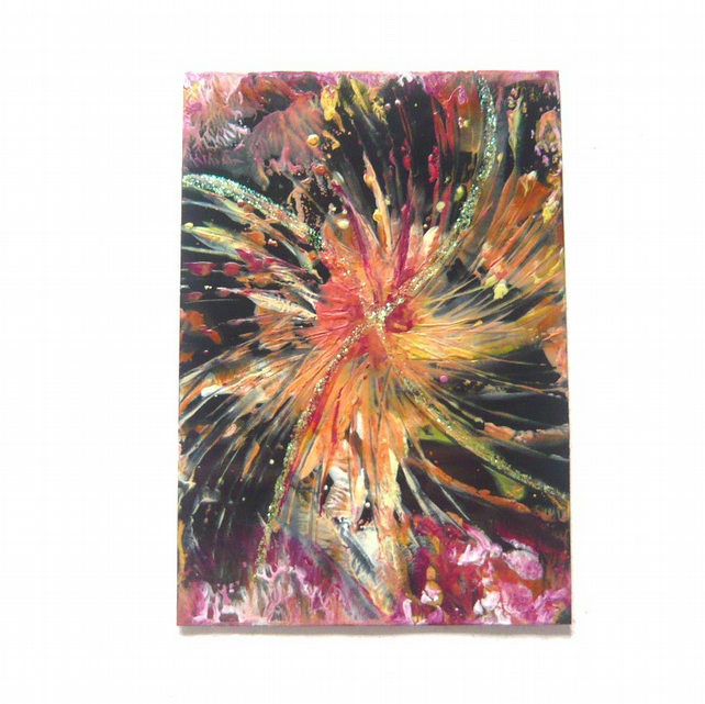 "4x6 Wax Art ""Fire Work"" Painting With GLITTER 001."