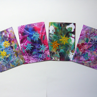 SALE!! BARGAIN!! (Pack of 4) 4x6 Wax Flower Art Paintings 003.