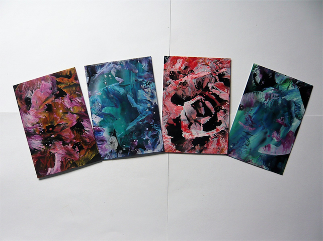 SALE!! BARGAIN!! (Pack of 4) 4x6 Abstract Wax Art Paintings 004.