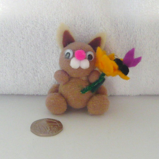 """Beaty"" The Pom Pom Bunny With Sunflower And Butterfly 002."