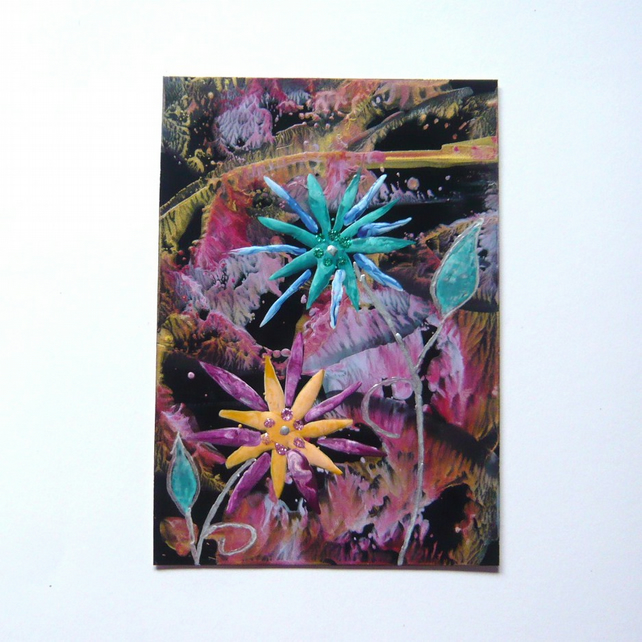 4X6 Fantasy Flower Painting With Glitter 007.