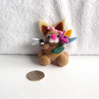 """Bonnie"" The Pom Pom Bunny With Flower And Butterfly 003."