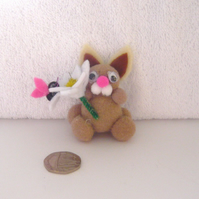 """Beryl"" The Pom Pom Bunny With A Daisy Flower And Butterfly 004."