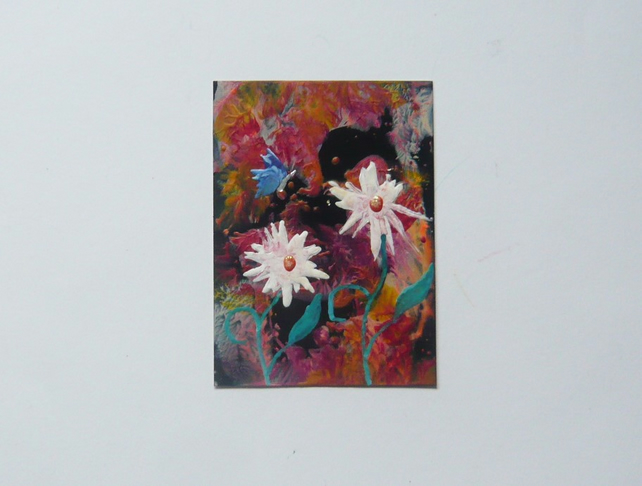 ACEO Daisy Painting With GLITTER 004.