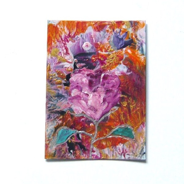 ACEO Rose Painting With GLITTER 002.