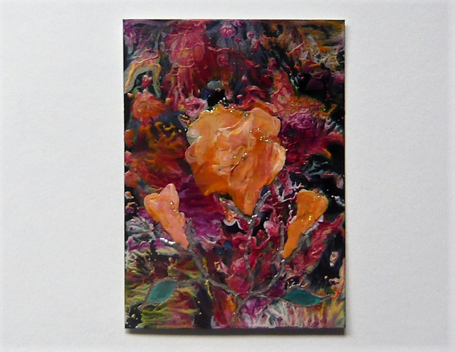 ACEO Rose Painting With GLITTER 003.