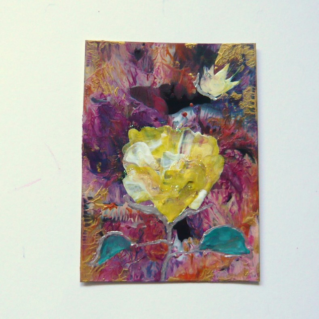 ACEO Rose Painting With GLITTER 004.