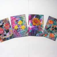 SALE!! BARGAIN!! (Pack of 4) 4x6 Mixed Flower Wax Art Paintings 002.