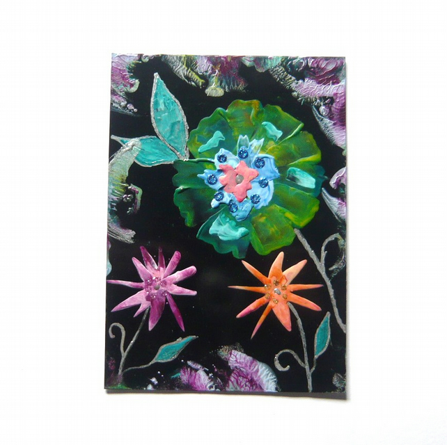 4X6 Fantasy Flower Painting With Glitter 011.
