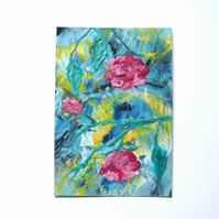 4X6 Rose Branch Painting With GLITTER 002.