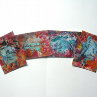 SALE!! BARGAIN!! (Pack of 4) ACEO Abstract Wax Art Landscape Paintings 001.