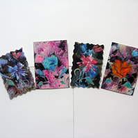 SALE!! BARGAIN!! (Pack of 4) ACEO Mixed Flower Paintings With GLITTER 002.