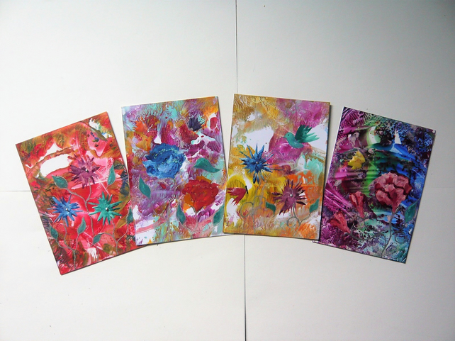 SALE!! BARGAIN!! (Pack of 4) 4x6 Impression Flower Art Paintings 006.