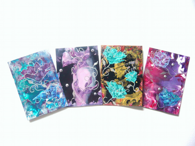 SALE!! BARGAIN!! (Pack of 4) 4x6 Impression Flower Art Paintings 005.