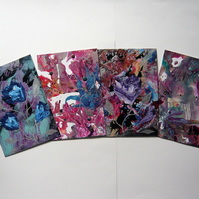 SALE!! BARGAIN!! (Pack of 4) 4x6 Impression Flower Art Paintings 007.