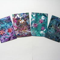 SALE!! BARGAIN!! (Pack of 4) 4x6 Impression Flower Art Paintings 008.
