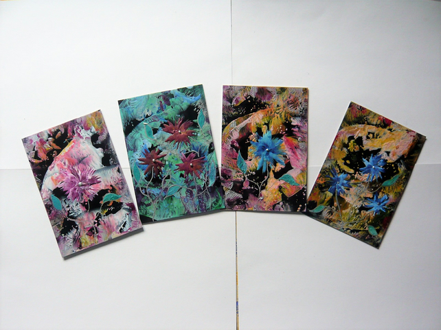 SALE!! BARGAIN!! (Pack of 4) 4x6 Impression Flower Art Paintings 009.