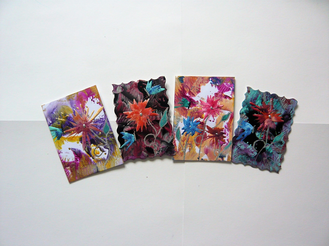SALE!! BARGAIN!! (Pack of 4) 4x6 Impression Flower Art Paintings 003.