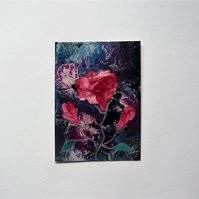 ACEO Rose Painting With GLITTER 005.
