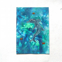 4X6 Dolphin Abstract Painting With GLITTER 003