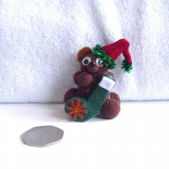 CHRISTMAS Pom Pom Teddy With Santa Stocking Decoration.